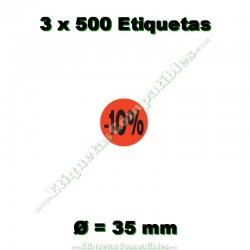 """3 Rollos 500 Etiquetas """"-10%"""""""