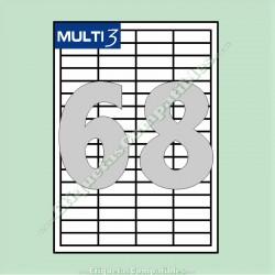 100 Hojas A4 Multi3 con 68 Etiquetas de 48,5 x 16,9 mm