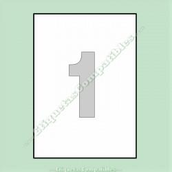 100 Hojas A4 con 1 Etiqueta de 210 x 297 mm