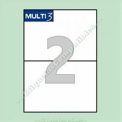100 Hojas A4 Multi3 con 2 Etiquetas de 210 x 148 mm