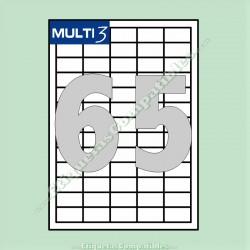 100 Hojas A4 Multi3 con 65 Etiquetas de 38 x 21,2 mm