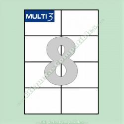 100 Hojas A4 Multi3 con 8 Etiquetas de 105 x 74 mm