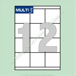 100 Hojas A4 Multi3 con 12 Etiquetas de 70 x 67,7 mm