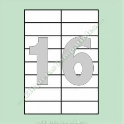 100 Hojas A4 con 16 Etiquetas de 105 x 37 mm