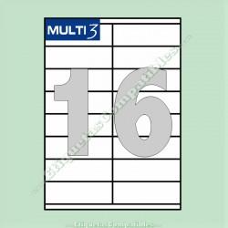 100 Hojas A4 Multi3 con 16 Etiquetas de 105 x 35 mm