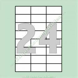 100 Hojas A4 con 24 Etiquetas de 70 x 37 mm