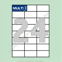 100 Hojas A4 Multi3 con 24 Etiquetas de 70 x 37 mm
