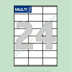 100 Hojas A4 Multi3 con 24 Etiquetas de 70 x 36 mm