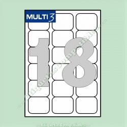 100 Hojas A4 Multi3 con 18 Etiquetas de 63,5 x 46,6 mm