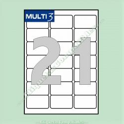 100 Hojas A4 Multi3 con 21 Etiquetas de 63,5 x 38,1 mm