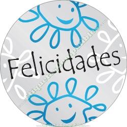 """250 Etiquetas """"Felicidades"""" Margaritas sonrientes"""