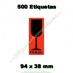 "1 Rollo 500 Etiquetas ""Frágil"" Copa"