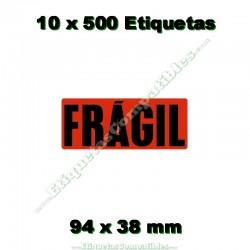 "10 Rollos 500 Etiquetas ""Frágil"""