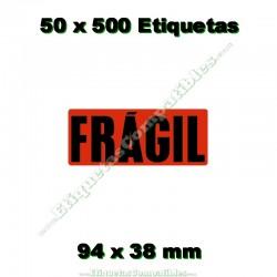 "50 Rollos 500 Etiquetas ""Frágil"""