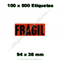 "100 Rollos 500 Etiquetas ""Frágil"""