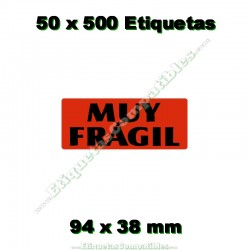 "50 Rollos 500 Etiquetas ""Muy frágil"""