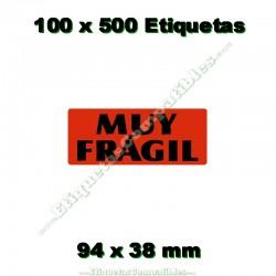 "100 Rollos 500 Etiquetas ""Muy frágil"""