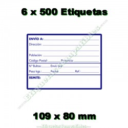 """6 Rollos 500 Etiquetas """"Direcciones"""""""