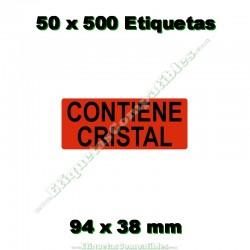 """50 Rollos 500 Etiquetas """"Contiene cristal"""""""