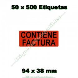 """50 Rollos 500 Etiquetas """"Contiene factura"""""""