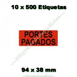 """10 Rollos 500 Etiquetas """"Portes pagados"""""""