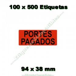 """100 Rollos 500 Etiquetas """"Portes pagados"""""""