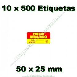 """10 Rollos 500 Etiquetas """"Precio Rebajado"""" rojo/amarillo rectangular"""