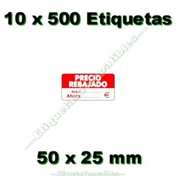 """10 Rollos 500 Etiquetas """"Precio Rebajado"""" rojo/blanco rectangular"""