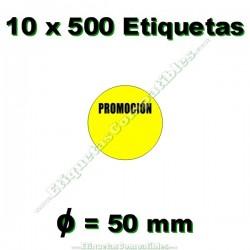 """10 Rollos 500 Etiquetas """"Promoción"""" círculo amarillo"""