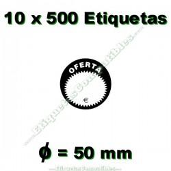 """10 Rollos 500 Etiquetas """"Oferta"""" círculo negro/blanco"""
