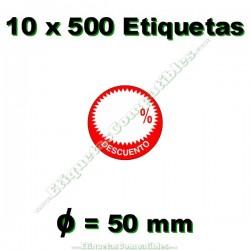 """10 Rollos 500 Etiquetas """"Descuento"""" círculo rojo/blanco"""
