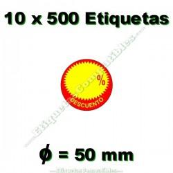"""10 Rollos 500 Etiquetas """"Descuento"""" círculo rojo/amarillo"""