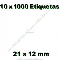 10 Rollos 1000 Etiquetas 21 x 12 mm recta blanco