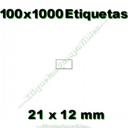 100 Rollos 1000 Etiquetas 21 x 12 mm recta blanco