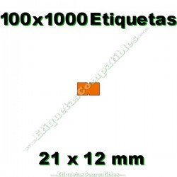100 Rollos 1000 Etiquetas 21 x 12 mm recta naranja flúor