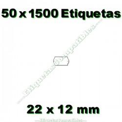 50 Rollos 1500 Etiquetas 22 x 12 mm ondulada blanco