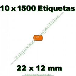 10 Rollos 1500 Etiquetas 22 x 12 mm ondulada naranja flúor