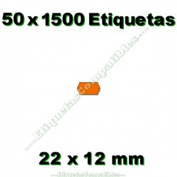 50 Rollos 1500 Etiquetas 22 x 12 mm ondulada naranja flúor