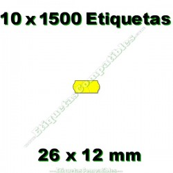 10 Rollos 1500 Etiquetas 26 x 12 mm ondulada amarillo flúor