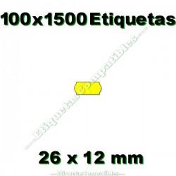 100 Rollos 1500 Etiquetas 26 x 12 mm ondulada amarillo flúor