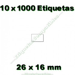 10 Rollos 1000 Etiquetas 26 x 16 mm recta blanco