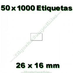 50 Rollos 1000 Etiquetas 26 x 16 mm recta blanco
