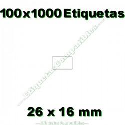 100 Rollos 1000 Etiquetas 26 x 16 mm recta blanco
