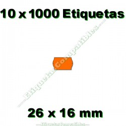 10 Rollos 1000 Etiquetas 26 x 16 mm ondulada naranja flúor