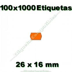 100 Rollos 1000 Etiquetas 26 x 16 mm ondulada naranja flúor