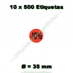 """10 Rollos 500 Etiquetas """"-10%"""""""