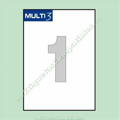 500 Hojas A4 Multi3 con 1 Etiqueta de 210 x 297 mm