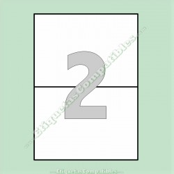 100 Hojas A4 con 2 Etiquetas de 210 x 148 mm