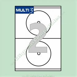 100 Hojas A4 Multi3 con 2 Etiquetas de Ø 117 mm