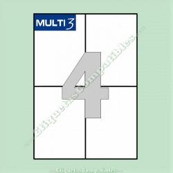 100 Hojas A4 Multi3 con 4 Etiquetas de 105 x 148 mm